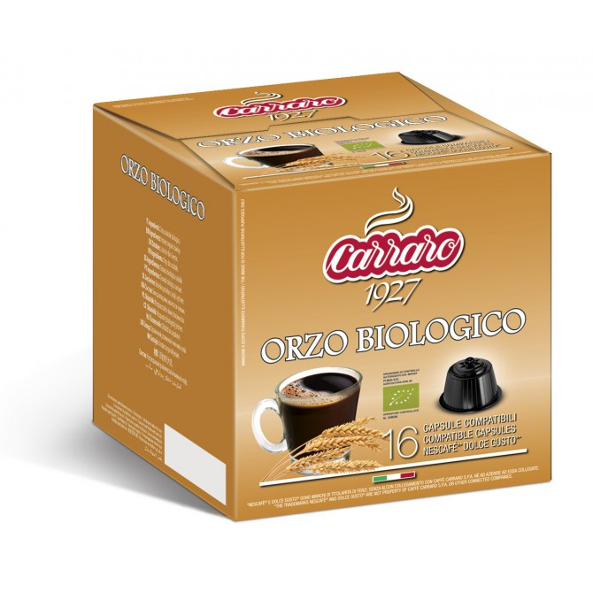 CARRARO, CAFFE' BARLEY ORZO BIO, Dolce Gusto kapsulės, 16 vnt.