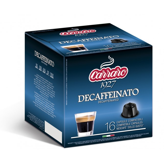 CARRARO, CAFFE' DECAFF, Dolce Gusto kapsulės, 16 vnt